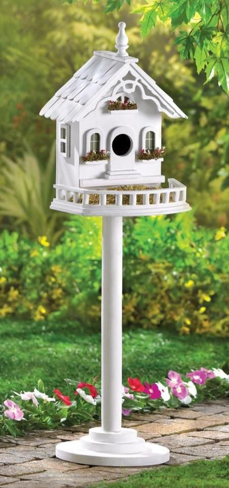 """Lovely little luxury Victorian birdhouse villa for feathered flyers overflows with Old World charm!Sturdy freestanding pole and base included.Weight 3.2 pounds. 9.38"""" x 8.38"""" x 29.2"""". Fir Wood, Plywood. Victorian Birdhouses, Birdhouse Designs, Birdhouse Pole, Birdhouse Decorating Ideas, Birdhouse Craft, Decorative Bird Houses, Bird House Kits, Wood Bird, How To Attract Birds"""