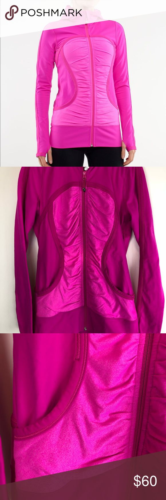 """Lululemon Pink Pure Balance Define Hoodie Jacket Excellent preowned Lululemon hooded jacket in size 8. Size tag still attached. Hot pink, fuschia.  29"""" total length  17"""" armpit to armpit lululemon athletica Jackets & Coats"""