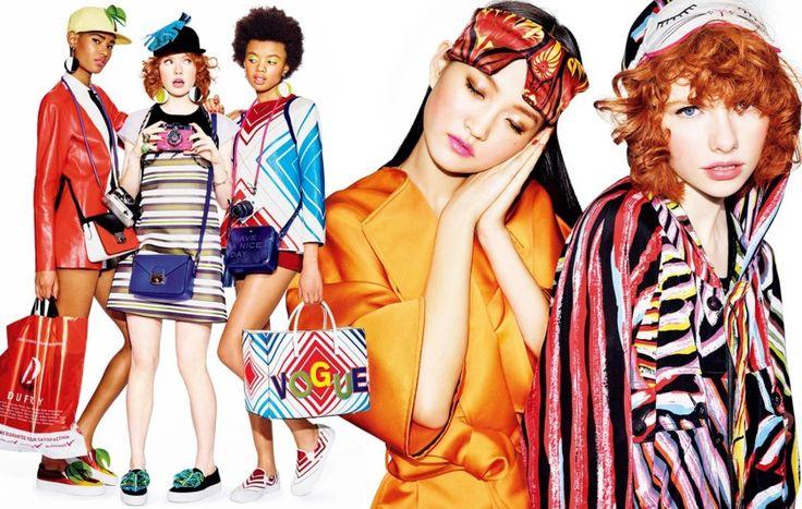 Edwina Preston, Grace Booth, Lucy Evans, Poppy Okotcha, Rachel Finniger, Viola Podkopaeva, Wangy Xinyu & Ysaunny Brito for Vogue Japan June 2016 by Matt Irwin