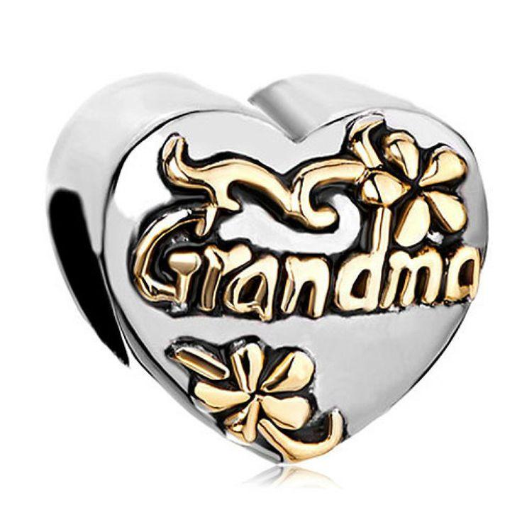 Heart Flower Grandma European Love Beads Pandora Chamilia Compatible | Charmsstory.com #grandma #pandora #charms #love #flower #chamilia