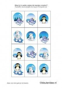 Poolmatrix kaartjes voor kleuters 2, kleuteridee.nl , Arctic matrix for preschool, free printable.