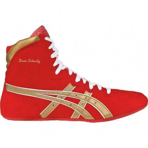 Asics Dave Schultz Classic Mens Wrestling Shoe JY604.2395 Red-Gold-White