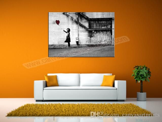 Home Decor Canvas Painting Banksy Canvas Art Print Of There Is Always Hope  Banksy Canvas Prints Painting Banksy Wall Picture Part 59