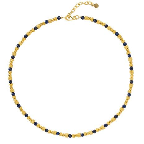 This Greek Bead and Lapis necklace is adorned with lapis lazuli and based on a beaded necklace (Greek, about 400 B.C.) found in Pantikapaion. The original necklace features fine gold granulation, an ancient form of jewellery ornamentation. Ancient Greek jewellery, unlike that of the Egyptians or Romans, tended to include gemstones, often decorated with gold granulation. £150.00
