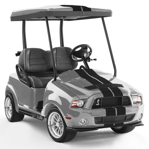 Shelby GT500 - Ingot Silver golf cart @caddyshackcarts #GT500 #GolfCarts #www.caddyshack1.com