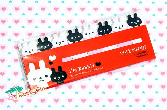 Cute Black & White Rabbits Sticky Notes - Post-it notes, sticky memo, kawaii animals
