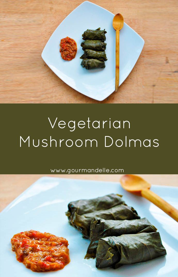 This mushroom dolmas recipe is a traditional Greek recipe made vegetarian! The mushrooms give these dolmas a meaty taste and texture you'll love! | gourmandelle.com | #dolmas #vegan