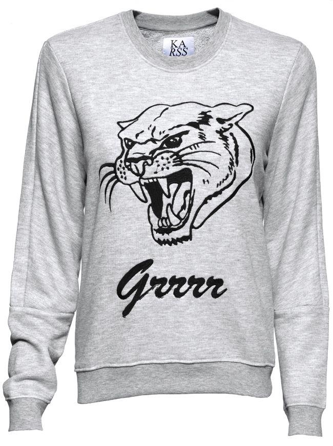 Grrrr Sweatshirt - Heather Grey | ZOE KARSSEN | Designers | Buy online at Shop-Label.com #SS15 #ZoeKarssen #Sweatshirt