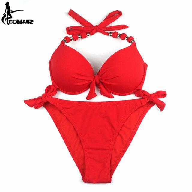 EONAR Bikinis Women Print Floral Swimsuits Brazilian Push Up Halter Bikini Set Bathing Suits Plus Size Swimwear Female XXL