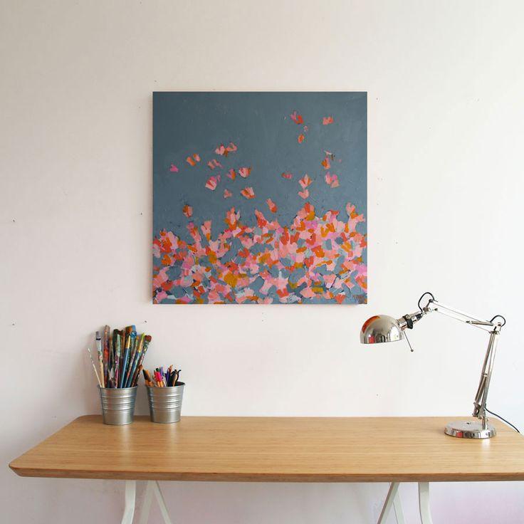 Magdalena Purol acrylic abstract painting Butterflies Gray http://puroldesign.pl/obraz-akrylowy-abstrakcja-butterflies-gray #painting #abstract #art #butterflies #gray #pink #modern