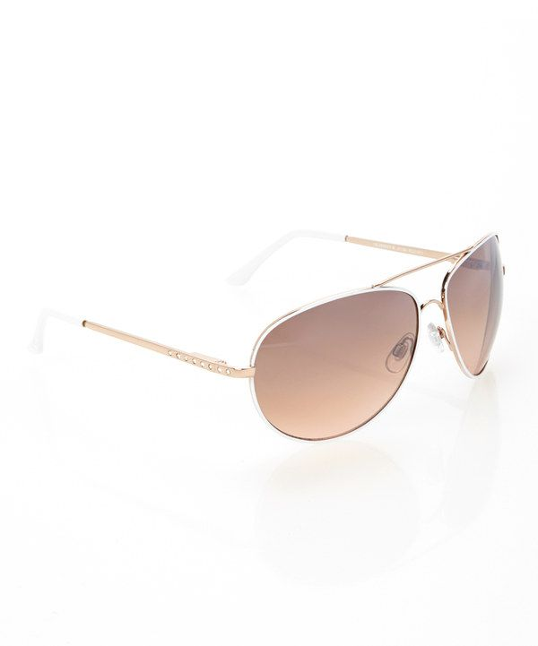 Love this Jessica Simpson Collection White & Gold Shimmer Pilot Sunglasses by Jessica Simpson Collection on #zulily! #zulilyfinds