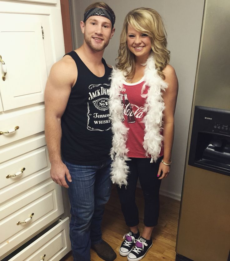 Halloween couples costume. Jack and Coke. #couples #costume #halloween #jackdaniels #cocacola #partners #diy #simple