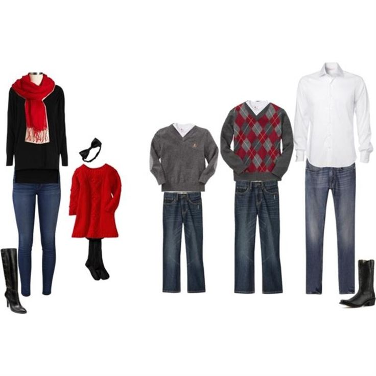 IMAGE ONLY // family photo; what to wear; grey; red; black; white; jeans