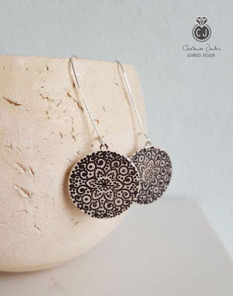 Silber Ohrringe - Lange Ohrringe *Mandala* 925Ag schwarz/weiß - ein Designerstück von Constanze-Janke-Schmuckdesign bei DaWanda