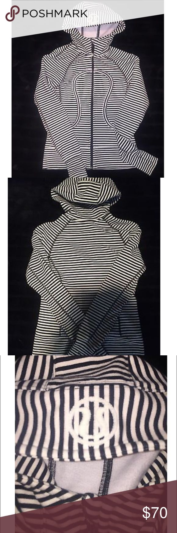 Lululemon Scuba Hoodie Striped Size 2 Lululemon Scuba Hoodie Black and White Striped Size 2. Great pre-owned condition showing light signs of wear from wash. lululemon athletica Tops Sweatshirts & Hoodies