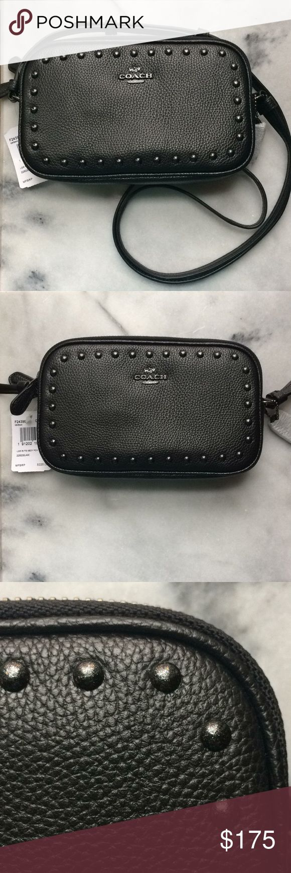 """Coach Crossbody Pouch Black Lacquer Rivets NWT Coach Crossbody Pouch- Black with Lacquer Rivets Polished Pebble Leather 7 1/2 L x 4 1/2 H x 1 1/2 W Strap with 23"""" drop for Crossbody or shoulder wear 2 credit card slots Inside multifunction pocket Double zip closure with black fabric lining inside  Brand New With Tags with original packaging  Smoke free home Bundle with another item & save 15%! Coach Bags Crossbody Bags"""