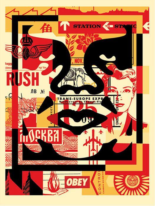 Géant Visage Collage (MIDDLE) Offset Imprimer Shepard Fairey sur «papier moucheté de crème ton« lourd Fairey est un artiste américain contemporain street art, graphiste, activiste et fondateur de ... OBEY (vêtements). Les trois œuvres se composent d'un collage des travaux antérieurs avec oaBowie, Warhol, ML KIng ... chacun avec l'icône '' est maintenant devenu l'image de la «Giant '  État: Neuf Signé (à droite) par Shepard Fairey Dimensions: 60x46 cm / 18x24 pouces  Est envoyé dans le tube…