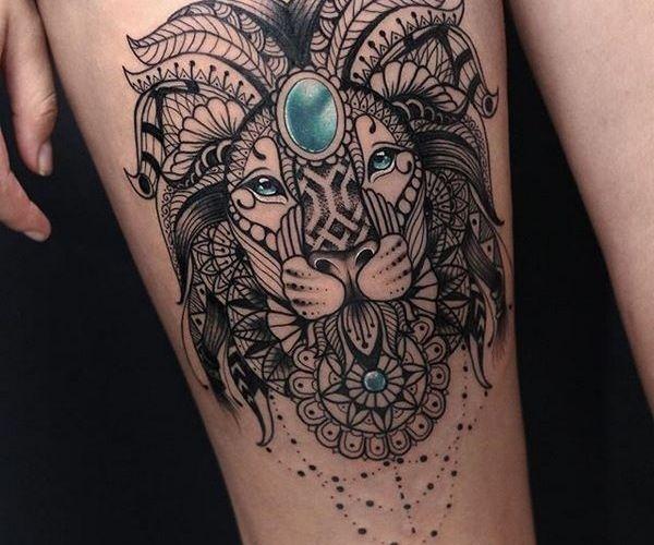 Lion Mandala Thigh Tattoo For Women Mandala Tattoos For Women Mandala Tattoo Design Tattoos