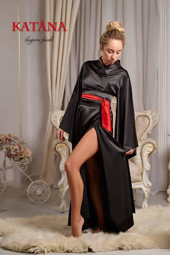 Black Kimono Robe with Red Belt Accent