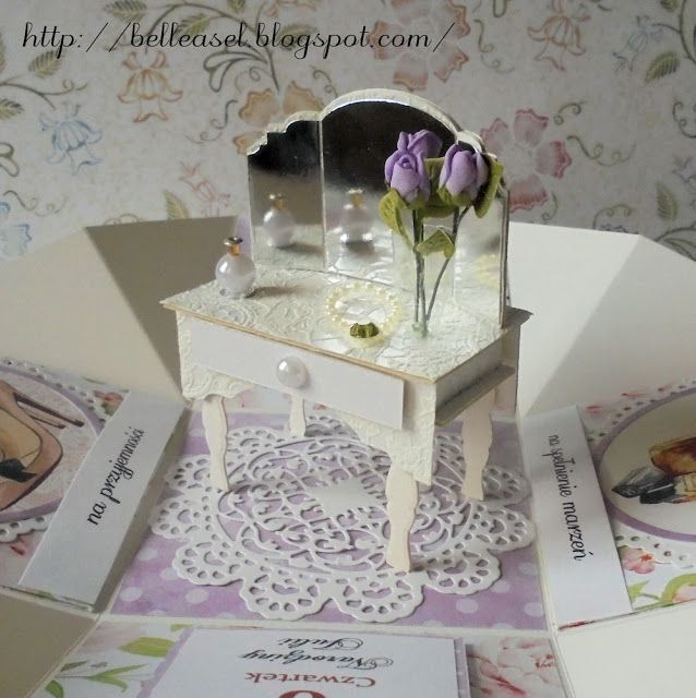 kartka na urodziny osiemnastka exploding box birthday card, dressing table
