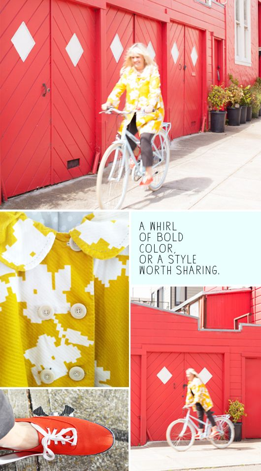 be prepared for serendipity | sfgirlbybay: Riding A Bike, Fabrics Patterns Textiles, Exterior Colors, Ride A Bike, Plays Houses, Bright Colors, Colors Inspiration, Play Houses