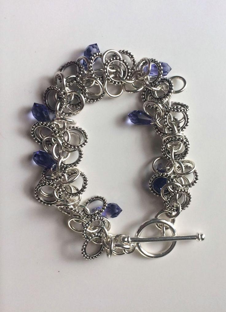 Sterling Silver Shaggy Loops Bracelet, Sterling Bali Handmade Rings and Swarovski Crystal Drops- http://etsy.me/1PFnm4w