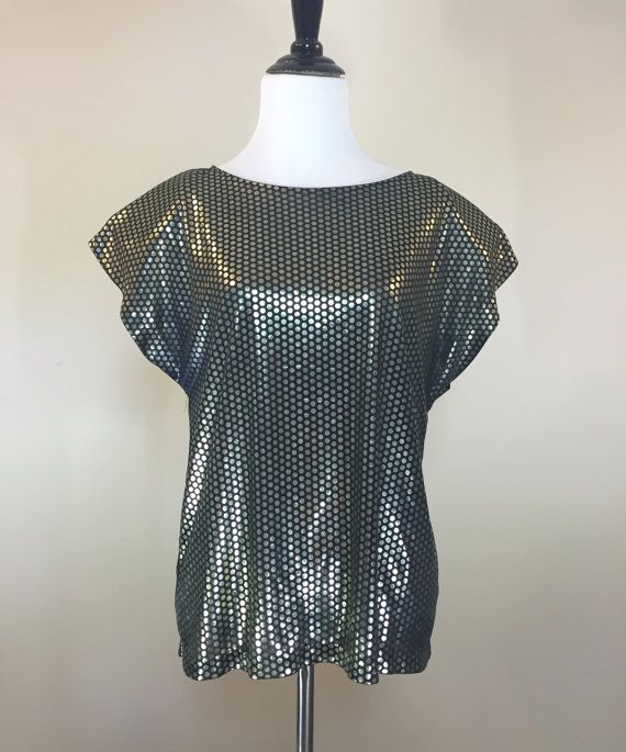 Black Metallic Loose Fit Blouse with Boat Neck by BirchEdenVintage