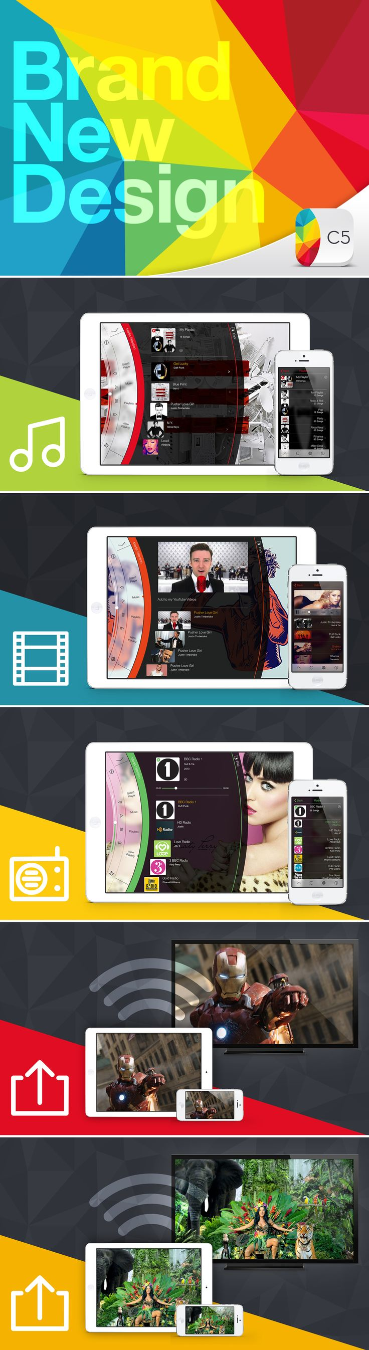 Brand New Design! 5 apps in one! Music, Radio, Video, Rdio, DLNA /Airplay from one single #iOSApp