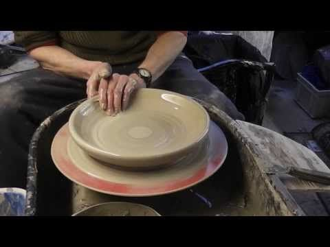 Throwing, Trimming & Decorating a large pottery plate on the wheel