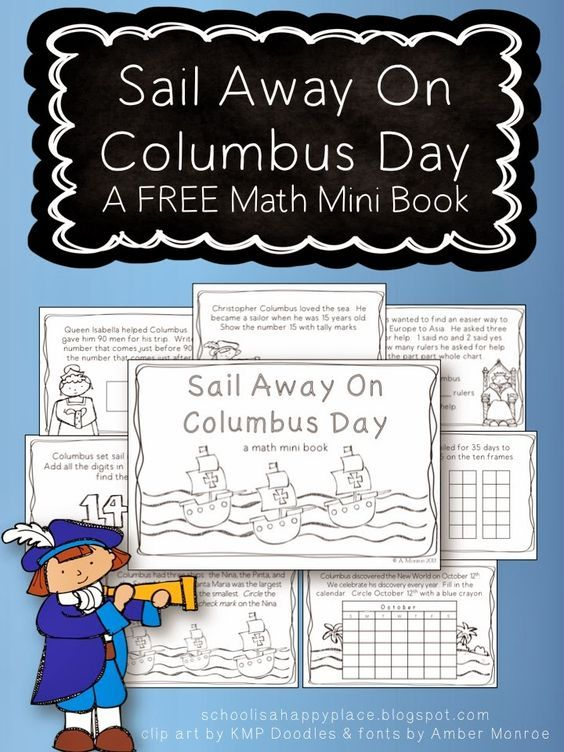 "Sail Away On Columbus Day: A FREE Math Mini Book.    Use this mini booklet to learn about Christopher Columbus Day in addition to working math word problems at the same time!    ""I usually work along with my students on mini books using my document camera.  We discuss the clue words in the problems and all the different ways to solve them.  I like to have students bring their books up to share and explain how they arrive at their answers.   We continue discussing strategies even when they…"