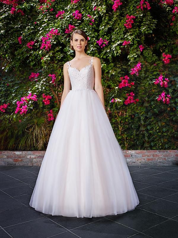 Moonlight Tango T769 prima ballerina ball gown  wedding dress with a soft tulle skirt and lace bodice.