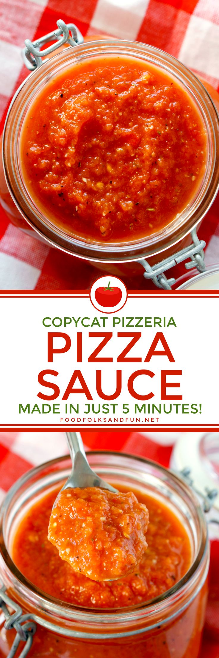 This Copycat Pizzeria Pizza Sauce Recipe tastes like it came from your favorite pizzeria. It's SO easy to make, all you need is 5 minutes and a blender!
