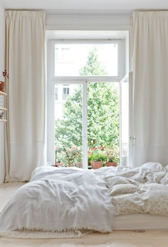 A Gallery of All White Bedrooms - I think these are SOOO beautiful and refreshing... but they'd never stay clean :-(
