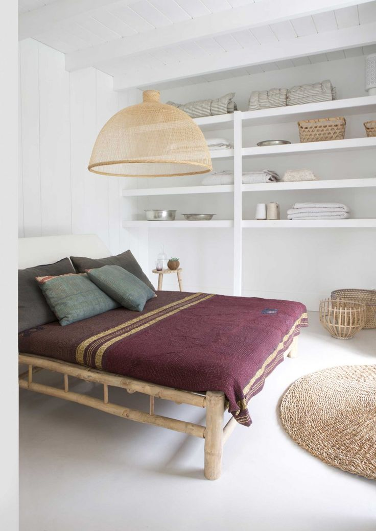bedroom shelves and wood bamboo bed