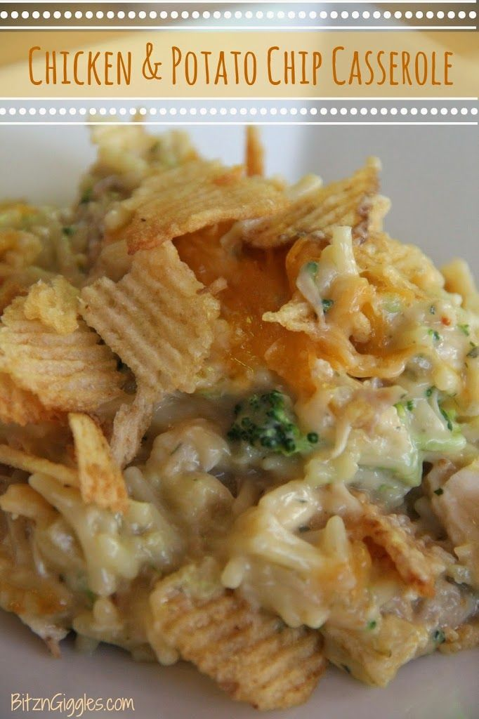 Chicken  Potato Chip Casserole - 2 c cooked chicken, 1 bag Knorr Rice Chicken Broccoli prepared, 1 can Cream of Chicken  Mushroom soup, 1 can Cream of Celery soup, 2 cups finely chopped broccoli florets, 2 T minced onions, 1 T lemon juice, 1 cup Cheddar cheese, 2 c crushed potato chips, 1/4 cup water, Garlic pepper to taste.  Bake at 400 for 25-30 min.