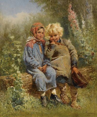 "Konstantin Egorovich Makovsky (1839-1915), ""Peasant Children at rest"""