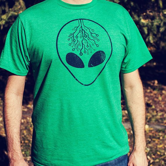 Alien Shirt Screen Printed Men's Green Sustainable by pixelandtwig