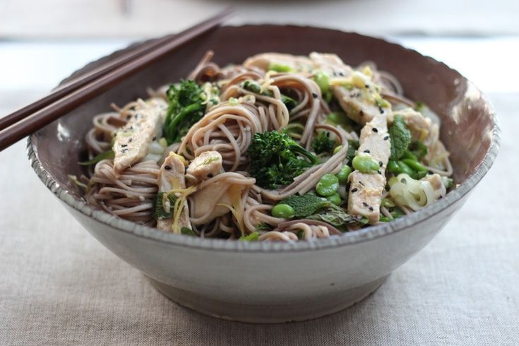 Japanese buckwheat soba noodle salad with ginger miso poached chicken ...
