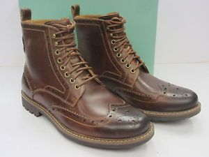 CLARKS MENS BROUGE LACE UP BOOT 'MONTACUTE LORD' BROWN LEATHER