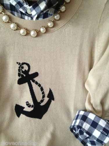 J. Crew anchor sweater and checks.