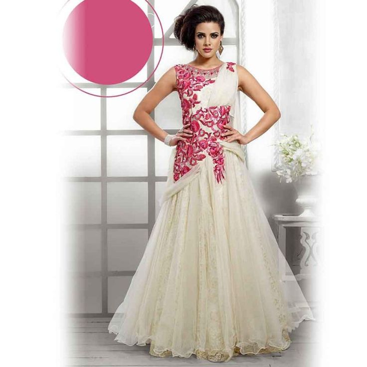 Off White Designer Gown Suit @ Rs. 8,601.00 Free Home Delivery, COD available Hurry Shop Today!