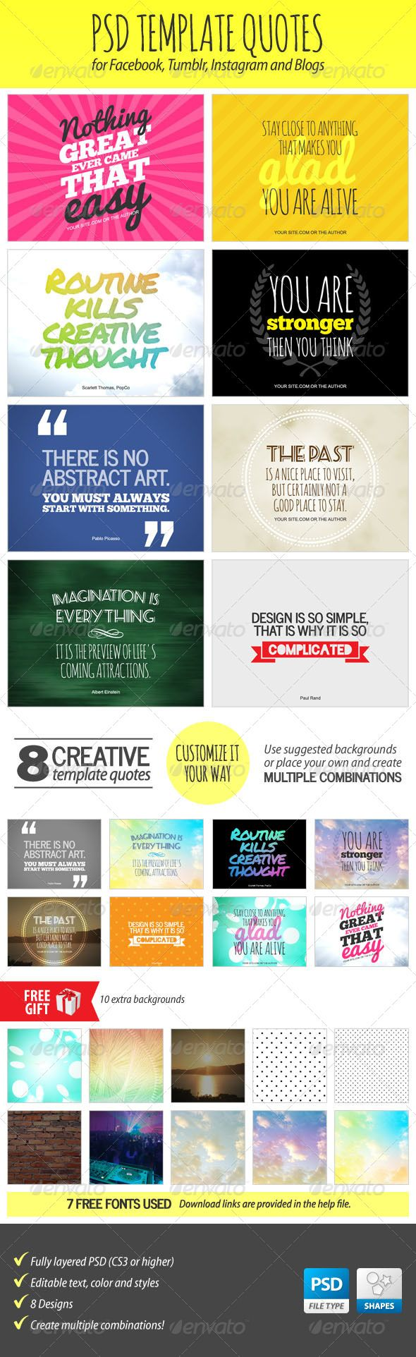 Psd template quotes instagram adobe and facebook for Social media template psd
