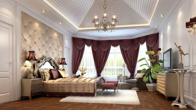 Stylish European Bedroom 3d Model Max 2 Bedroom Ideas European