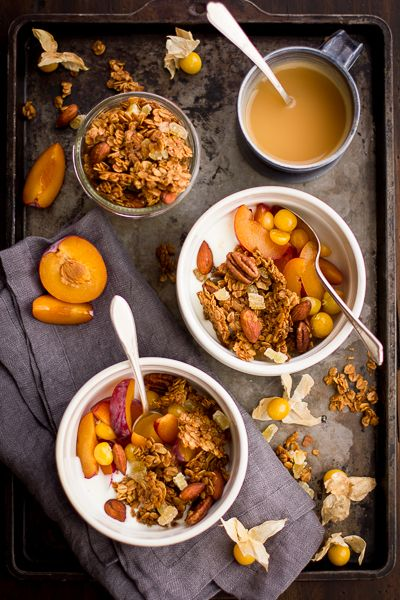 Gingersnap Granola with yogurt and sliced peaches and groundcherries | The Bojon Gourmet