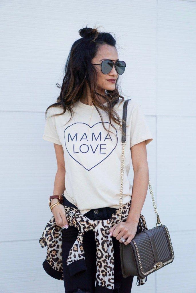 mama love, mom shirt, quay sunglasses, love cross body, leopard bomber