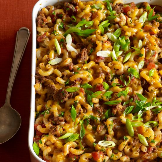 This hearty cumin-scented macaroni-and-beef casserole has an ...