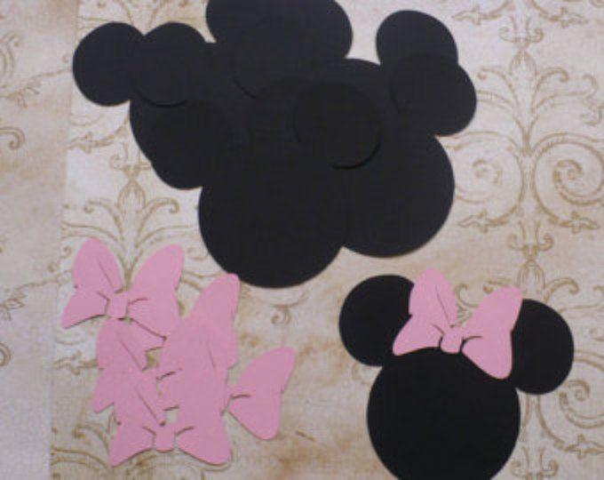 6 formes de tête souris Minnie avec des morceaux de médium rose arcs Die Cut pour l'artisanat bricolage Kids artisanat Birthday Party bannières Tags etc..