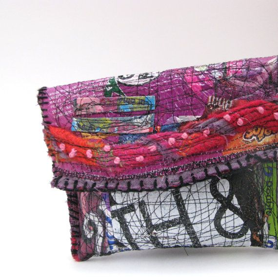 upcycled handbag from itzaChicThing - fused plastic bags + stitching http://www.etsy.com/shop/itzaChicThing http://debsupcycledart.com/ #recycled #bags #sewing