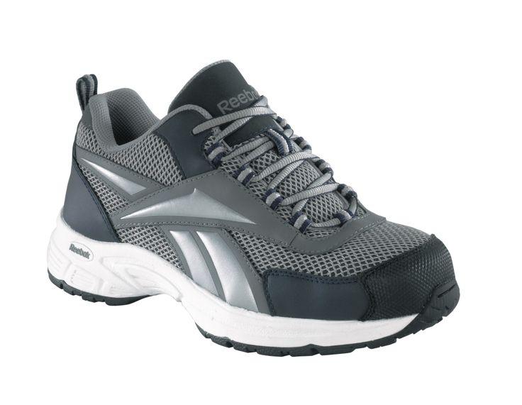 Reebok Womens Grey Leather Mesh Athletic Sport Oxford Kenoy Steel Toe
