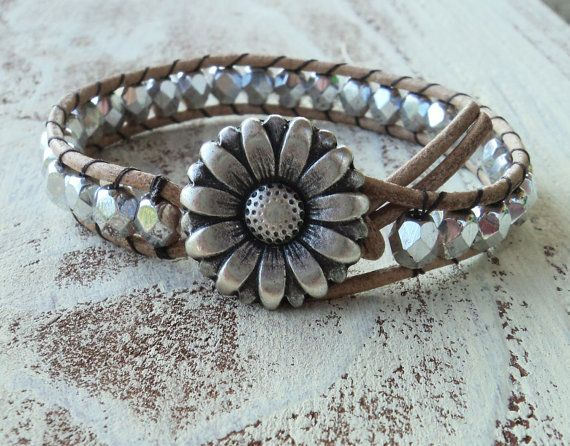 Silver Leather Wrap Bracelet, Daisy Bracelet, Boho Chic, Boho Glam, Bohemian Style Jewelry, Beaded Wrap Bracelet, Cowigirl Jewelry, Western on Etsy, $30.00